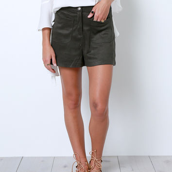 Searching For Joy Suede Shorts - Olive