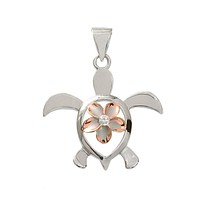 Sterling Silver with Rose Gold Alamea Hawaii Plumeria Turtle Pendant