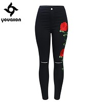 2102 Youaxon Black Embroidery Ripped Knees Jeans New Women`s High Waist Stretchy Denim Pants Skinny Pencil Woman Jeans