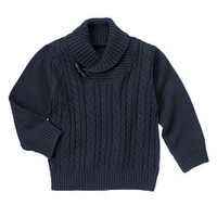 Uniform Shawl Collar Cable Sweater