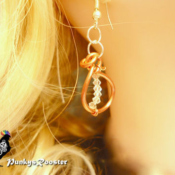Copper Earrings Swarovski Crystals Dressy Earrings Fancy Steampunk Nickel and Lead Free Ear Wires  #PRE26