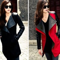 2015 New High Quality Autumn Winter PU Leather Sleeve Zipper Woolen Coat Buckle Woolen Coat Windbreaker Jacket = 1931663492