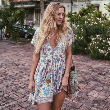 Boho Chic Summer Beach Vintage Peacock Floral Print Mini Dress Women 2018 Fashion V Neck Buttons Rayon Dresses Vestidos Mujer