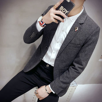 new arrival Men Suit Blazer Men Solid Color Fashionable Casual Blazer Masculino  Button Blazer Suits jacket