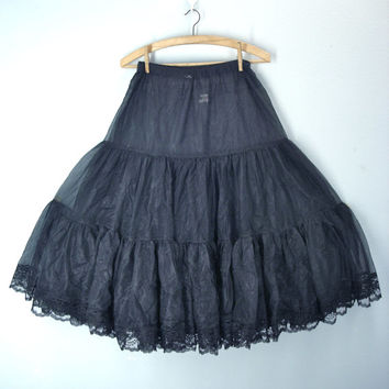 70s vintage CAN CAN slip crinoline full skirt petticoat black lace