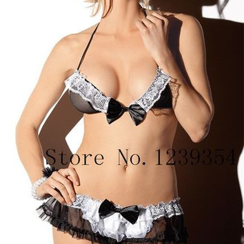 Slips Nurse maid cosplay uniform Hat + bra + panties mini skirt intimates women half slip set