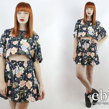 Vintage 90s Navy Floral Crop Top + Skirt Outfit S M Matching Set Two Piece Set Two Piece Outfit Skater Skirt Cropped Top High Waisted Skirt