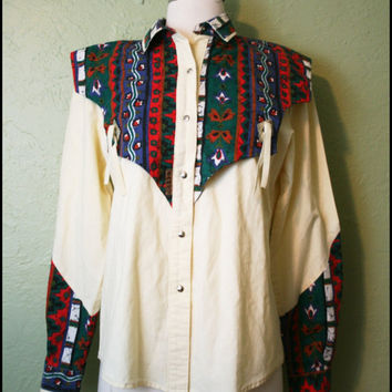 Vintage '70s Southwestern print western shirt// by StoriesForBoys