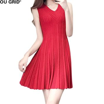 Women Summer Knitted Pleated Dress Red and Back Draped Ruffles Hem V-neck Sleeveless New Fashion Casual Dresses
