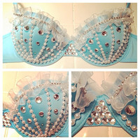 Hand Made Aqua Rave Bra with Crystals and Pearls