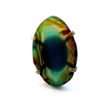 Agate Slice Ring Vintage Adjustable Geode Slab Brass Polished Stone Rock Blue Brown Turquoise