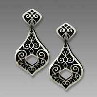 Adajio Earrings - Black and German-Silver Victorian Style Post Drop