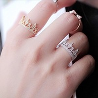MP Rhodium Plated Lovely Crown Shape White CZ Setting Ring Size US 6