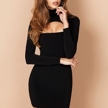 Black Charlize Long Sleeve Mini : Buy Designer Dresses Online at Nookie
