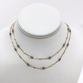 Gemma Grey Stone Gold Necklace
