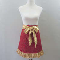 Holiday Christmas Hostess Apron, Red Poinsettia Print with Gold Ruffled Hem, Half Apron, Hostess Christmas Gift for Mom, Wife, Girlfriend