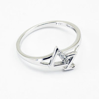Delta Zeta Sterling Silver Diagonal Ring set with Lab-Created Diamonds