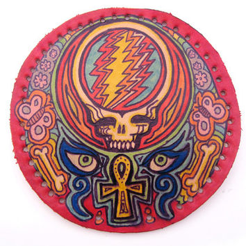 Grateful Dead patch, upcycled leather, Steal Your Face, ankh, hand drawn and inked, lacquer, original Deadhead art, psychadelic, hippie