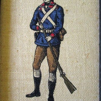 4th of July Soldier Picture rifle gun black gold Mad Men framed wall art linen print 1776 patriotic military vintage 60s Maryland Kay Dee