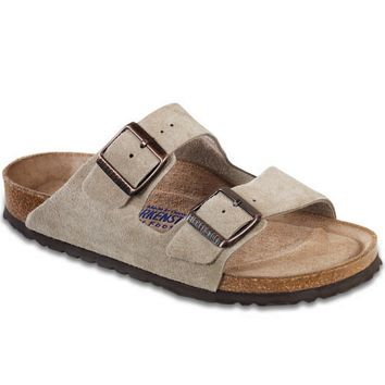 Birkenstock Men's Arizona Soft Footbed Taupe Suede (R) Sandals