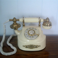 Vintage Rotary Telephone Ivory Colored French by houseofheirlooms