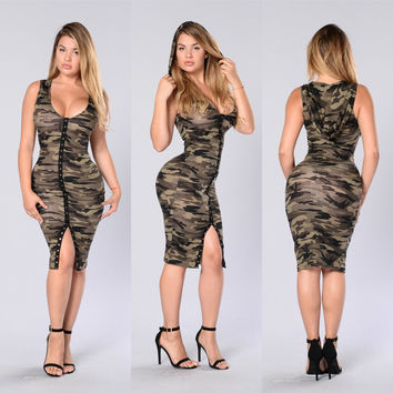 Army Hoodie Bodycon Dress