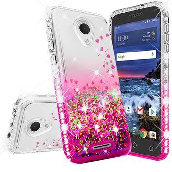 Alcatel Verso Case, U5 Case Liquid Glitter Phone Case Waterfall Floating Quicksand Bling Sparkle Cute Protective Girls Women Cover for Verso/U5 - Hot Pink