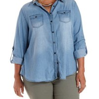 Plus Size Collared Button-Up