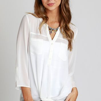 Twist Pocket Blouse Off White