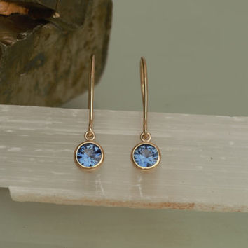 Blue Sapphire 14k Yellow Gold Bezel Set Dangle Earrings Round Shape Fine Gemstone Jewelry Gift for Her
