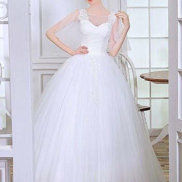 Poems Songs 2017 New Style sleeve wedding dress ball gown vestido de noiva robe de mariage blanche bridal dress free shipping