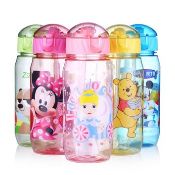 Disney 400ML Plastic Water My Bottle Children Cartoon Mickey Eco-friend BPA Free Leakproof Tumbler With Rope Bottle for Water