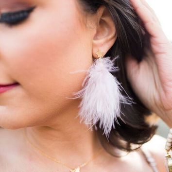 Women's Feather Earrings with Star Stud