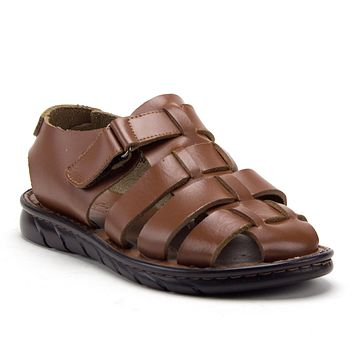 Men's 69211 Closed Toe Covered Strap Adjustable Leather Fisherman Sandals