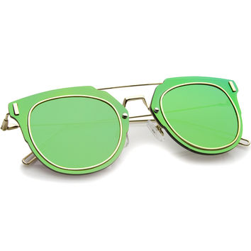FIYAH WIRE FLAT FRAME MIRROR SUNGLASSES - GREEN