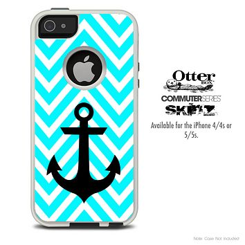 The Sharp Blue Chevron with Black Anchor Skin For The iPhone 4-4s or 5-5s Otterbox Commuter Case