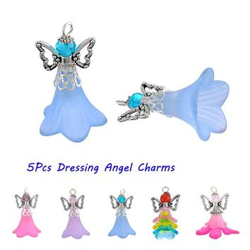 5PCs Cute Design Handmade Dressing Angel Pendant Charm Guardian Angel Jewelry