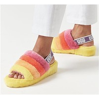 UGG Newest Popular Womens Fluff Yeah Slides Fur Flats Sandals Slipper Shoes 7#