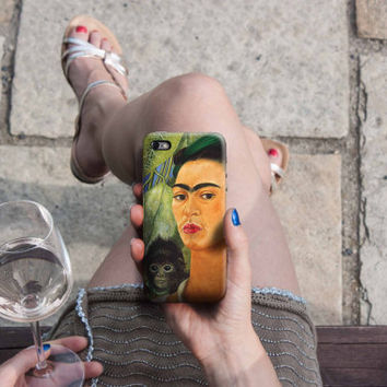 Self-Portrait with Monkey Frida Kahlo iPhone Case 6, 6S, 6 Plus, 4S, 5S, HTC, Galaxy, LG. Huawei. Art Painting. Gift Idea. Gift for him her