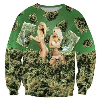 3D-Printed Weed Bikini Girls 420 Pillow Fight Sweater