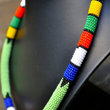 Beaded Green necklace,African headpiece,tribal necklace,African necklace, African bead work,Zulu necklace,Masai necklace,Rope necklace