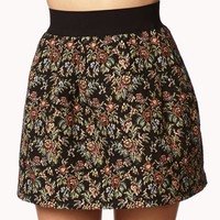 Tapestry Floral Pleated Skirt