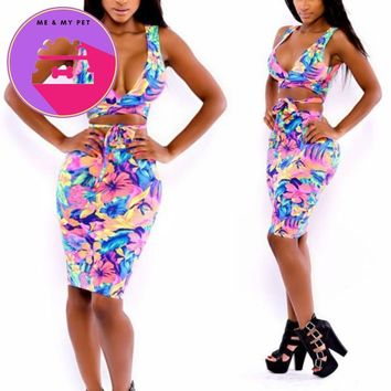 Sleevelesss  Deep V Neck Crop Tops/ Skirt Clothes Set