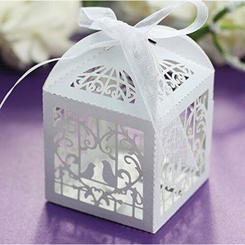 50 Pcs Sets White Love Birds Laser Cut Favor Candy Box with Ribbons Bridal Shower Wedding Party Favors Decor