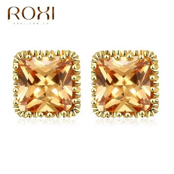 Austrian Crystal Big Champagne CZ Zircon Earrings for Women