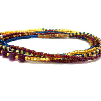 Stretch wrap beaded bracelet, multi strand seed bead bracelet, boho jewelry, bohemian, stackable, necklace, anklet, blue, gold, red agate