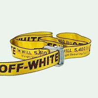 OFF Belt WHITE White+Black Word Belt B104496-1 Women Men White B104490-1 Yellow