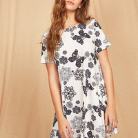 White Short Sleeve Flower and Butterfly Print Dress