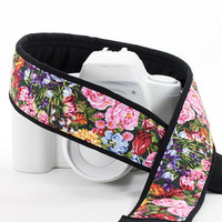 Floral dSLR Pocket Camera Strap, Replacement for Canon, Nikon, Pentax etc. Pocket, Garden Flowers, Camera Neck Strap, SLR, 70