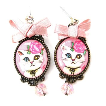 Kitty Cat Portrait Illustrated Drop Stud Earrings with Multi Colored Eyes in White | Animal Jewelry